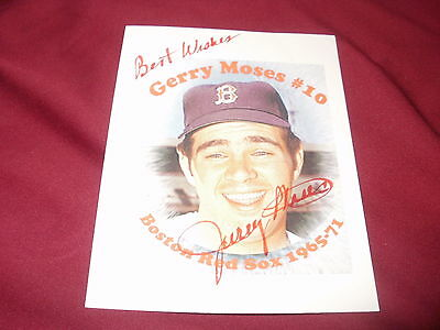 Signed ,Gerry Moses, Boston Red Sox 5x4 PhotoCard