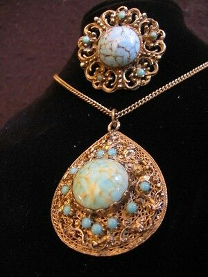VINTAGE FAUX TURQUOISE PENDANT NECKLACE & PIN BROOCH c.1940's/50's