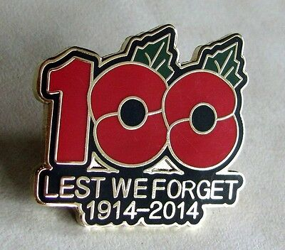100th Anniversary Of WWI Veteran Rememberance Day Poppy Lapel Pin
