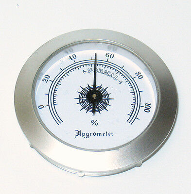 """REAL METAL Silver Tone Round Analogue Hygrometer 1-5/8"""" Inside w Mount"""