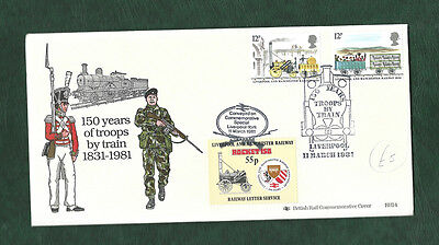 GB 1981 150 years of troops by train cover Liverpool special cancel