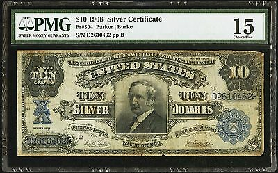 1908 $10 Silver Certificate Fr 304 Tombstone Pmg 15 Choice Fine
