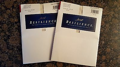 2 Vintage Pairs Hanes Resilience Sheer-To-Waist Pantyhose In Color Pearl.... AB