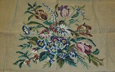 """Unfinished Tapestry Needlepoint Floral Design Ivo Tapestries 4.5"""" X 15"""" Vgc"""