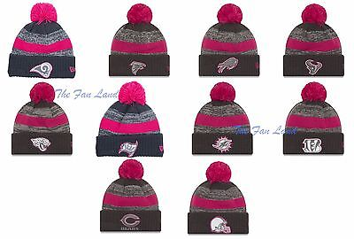 New NFL New Era NFL Breast Cancer Awareness BCA Cap Hat Official Pom Knit  Beanie a039d3749