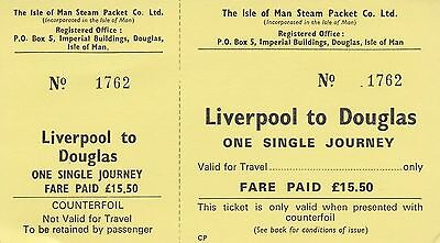 Card Ticket. The Isle of Man Steam Packet Co. Ltd. One Single. Fare £15.50.1 tkt