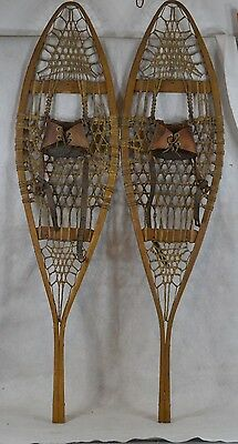 snowshoes leather bindings Canadian Huron style beaver old antique vintage