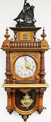 Superb Antique 19thc German Carved Walnut 8 Day Nautical Free Swinger Wall Clock