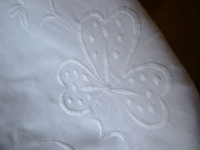 Vintage/Antique White Cotton Tablecloth/Bedcover with Whitework & Drawn Thread.