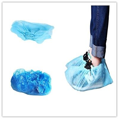 Disposable Plastic Blue Anti Slip Shoe Covers Cleaning Overshoes Protective UK