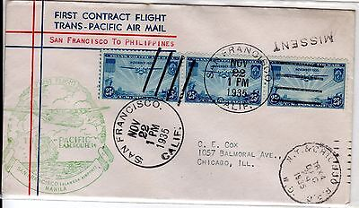 """RPO Cancel & """"Missent"""" First Flight Clipper San Francisco to Philippines 1935"""