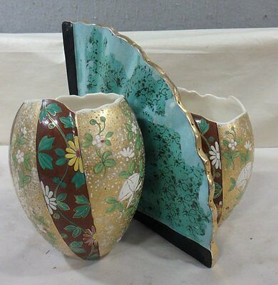 ANTIQUE PORCELAIN POTTERY Budapest Austro-Hungarian DOUBLE VASES WITH HAND FAN