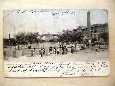 Antique postcard - Posted 1904 - Livorno italy see details