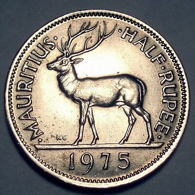 MAURITIUS CROWN COLONY 1/2 RUPEE 1975 AU, Stag.