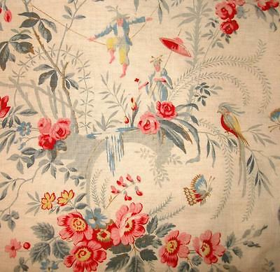 BEAUTIFUL 19th CENTURY FRENCH CHINOISERIE COTTON, BIRDS BUTTERFLIES