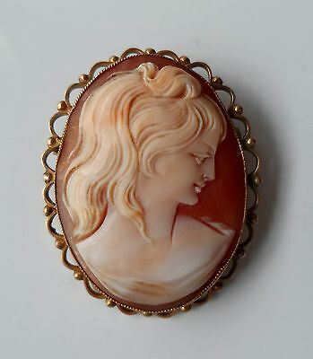 Vintage 60s 9ct YELLOW GOLD Hand Carved Shell Lady CAMEO Brooch - 8.6g