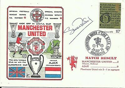 1976 MANCHESTER UNITED v AJAX, UEFA cover, ORIGINALLY SIGNED by STUART PEARSON!
