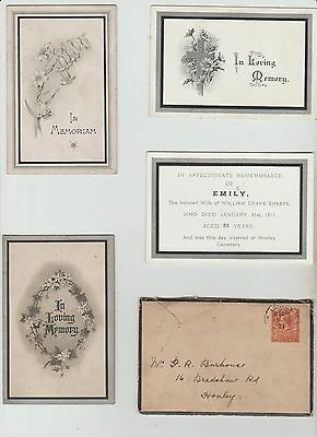 Selection Of Edwardian Mourning Cards ,see Pics
