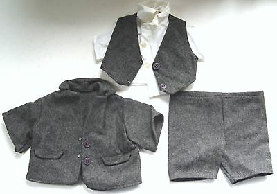 "RARE Peanuts SNOOPY GRAY FLANNEL 3-PC SUIT OUTFIT for 18"" PLUSH DOLL 1979 #4545"