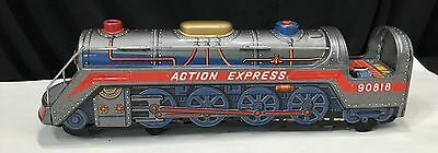Vintage Action Express Train Engine * 90818 * Made in Japan * Modern Toys Tin *