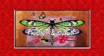 Dragonfly Butterfly Insect Flowers Art Painting Vinyl Checkbook Cover