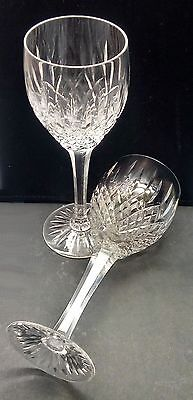 Pair of Stuart Crystal ' Shaftesbury ' wine glasses - 7.5 inches tall - perfect