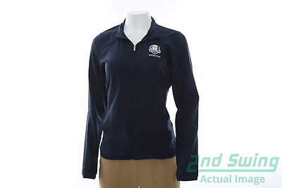 New Womens Adidas 2016 Ryder Cup Essential FZ Wind Jacket Small S Navy MSRP $70