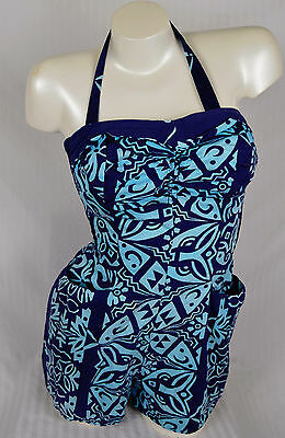 Vintage 50s Pin Up Bathing Suit Shaheen Cuff Bust Tiki Hawaii Playsuit Bathing