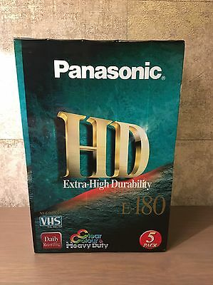 Panasonic HD E-180 VHS Tape Cassettes 5 Pack Fast Uk Delivery