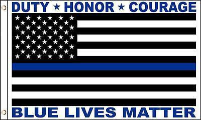 BLUE LIVES MATTER THIN BLUE LINE 3 X 5 FLAG 3x5 FL730 police honor pride duty