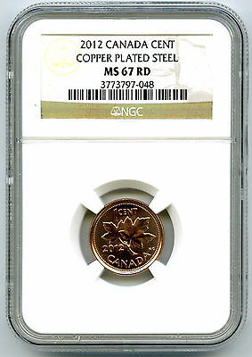 2012 Canada Cent Ngc Ms67 Rd Magnetic Steel High Grade Last Year Of Issue Rare !