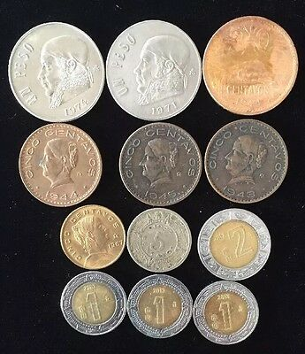 Twelve Assorted Mexico Mexican Coins Lot 1201