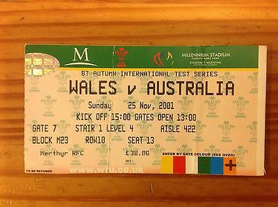 Wales v Australia 2001 Used Rugby Ticket
