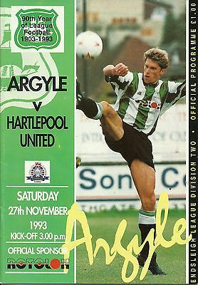Plymouth Argyle V Hartlepool United  27/11/1993  Div 2    (2)