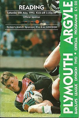 Plymouth Argyle V Reading  8/05/1993  Div 2 (1)