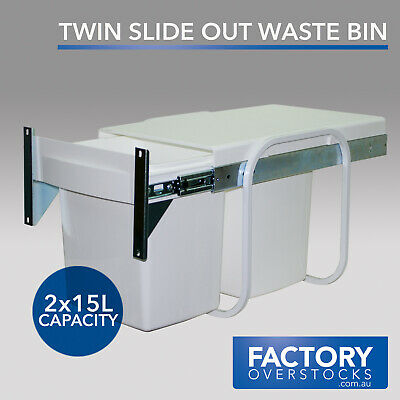 30L Twin Slide Out Waste Bin - Pull Out Door Mount Kitchen Dual Compartment 2x15