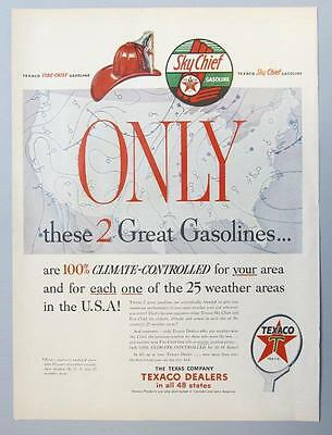 10 by 14 Original 1953 TEXACO Ad ONLY FIRE CHIEF AND SKY CHIEF GASOLINES