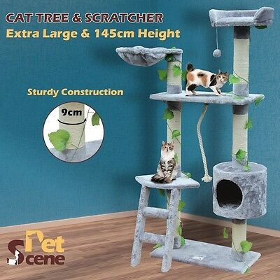 Deluxe 1.45m Cat Activity Scratching Post Jungle Tree House Condo Multi Platform