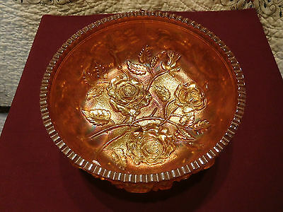 Vintage Carnival Large Glass Bowl Open Roses Amber Marigold Footed