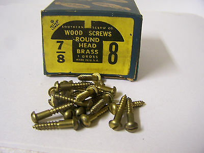 """#8 x 7/8"""" Round Head Brass Wood Screws Solid Brass Slotted Made in USA  Qty.144"""