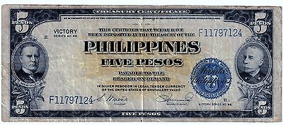 1944(ND) FIVE PESO VICTORY  (SILVER CERTIFICATE **(PHILIPPINES- US) ** wartime *