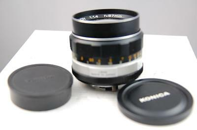 Konica Hexanon 57mm f1.4 lens, very early non-AR lens, MINT-
