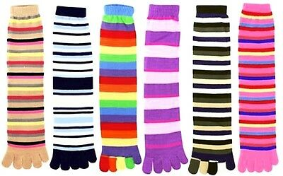 6 Pairs Assorted Stripes Winter Warm Toe Socks Size 9-11 Credos YV Special