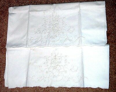 Pair ANTIQUE WHITE ON WHITE EMBROIDERED PILLOWCASES CUTWORK & SCALLOPED EDGES