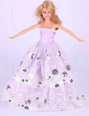 Fashion  Handmade Purple The original soft clothes dress for barbies doll 46