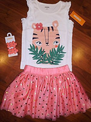 SZ 4 T Gymboree 4pc TIGER Top Coral TUTU Heart Skirt Outfit New Toddler Girl NWT