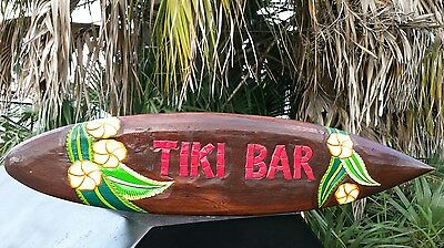 """40 Inch Hawaiian """"tiki Bar"""" Surfboard With Vibrant Flower Design (Red Letters)"""