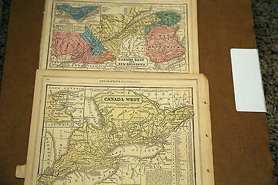 1862 Mitchell Antique Atlas Map-Canada East-West-Handcolored-Beautiful Detail