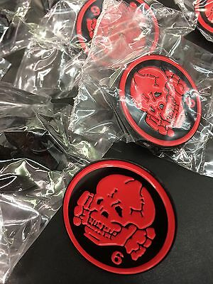 Death In June - Skull 6 Red Enamel Pin 1.25 Goth Industrial Neo Folk Current 93