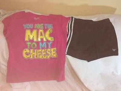 Justice Girls Size 16 Mac And Cheese T-Shisrt / Athletic Shorts Outfit